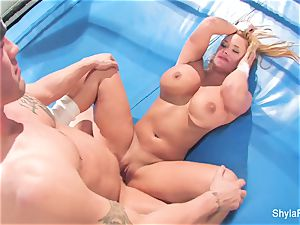 huge-chested light-haired Shyla Stylez does some xxx training