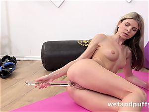 wet fleshy vulva with yoga babe Gina Gerson