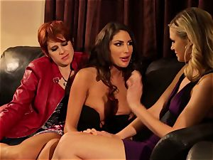 August Ames and Lily Cade strap on bed hump