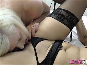 girl-on-girl grandmother tongues fuckbox