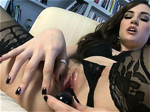 fantastic stunner Sasha Grey gets her pinkish cunny plumbed hard by her plaything till she cums