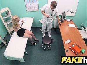 fake clinic smallish platinum-blonde Czech patient health test