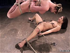 bound up lesbos stiff cropped in dungeon