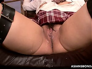 asian schoolgirl has her blasting thicket viciously toyed