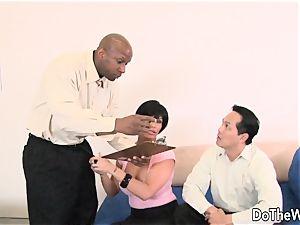 black-haired wifey takes meaty ebony manmeat