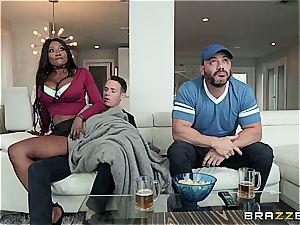 Stepmom deepthroating off her stepson's penis under a blanket