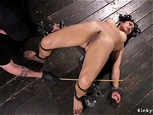 big-chested japanese gets bastinado in iron instrument