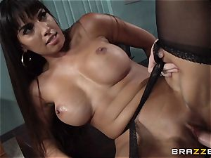 Mercedes Carrera pounds her daughters-in-law bf at work