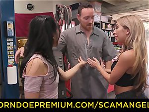 SCAM ANGELS - Blackmail 3some romp with mischievous honeys