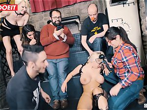 huge-titted light-haired gets xxx drilling in restrain bondage party
