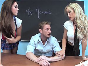 two crazy college girls have fun with their instructor