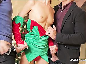 skinny nubile Gina Gerson Gets double penetration For Christmas