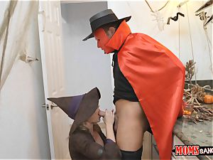 manhood sharing treats on Halloween with Cory pursue and Anastasia Rose