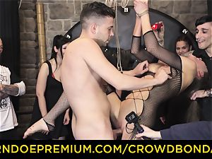 CROWD restrain bondage - extreme domination & submission tear up wheel with Tina Kay
