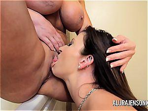 milf Alura Jenson Sara Jay sapphic ass-fuck and pussy joy