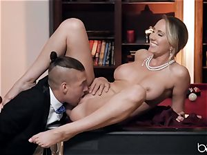 Xander pokes Brett and gives her a facial