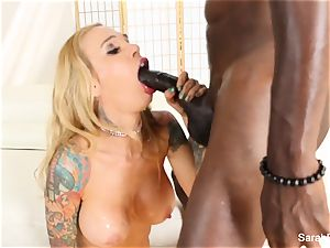 beautiful Sarah takes a humungous ebony spunk-pump deep inside
