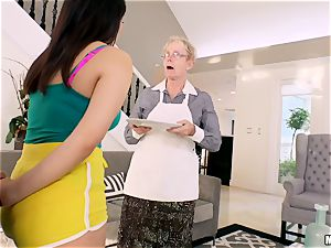 Valentina Nappi beaten in her minge with her granny sleeping in the room