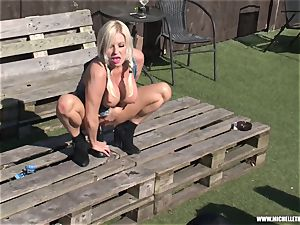 towheaded mega-slut jacks with fat fucktoy urinating and face sitting