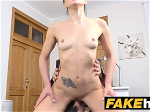 fake Agent cream pie for small black haired Italian