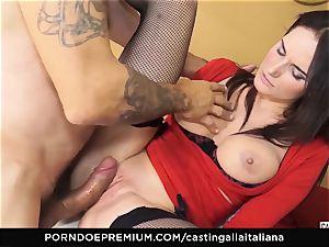 casting ALLA ITALIANA - huge-chested dark haired likes raw assfuck