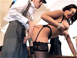 nasty damsels Anna Polina deep-throats and pounds a meaty boner