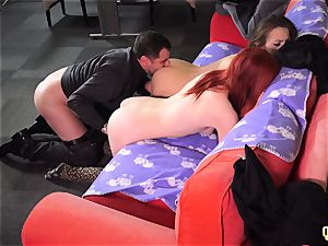 horny Sisters entice and pulverize their Step parent share jizz
