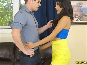 mischievous real estate agent Sophia Leone stuffs a customers pecker in her throat