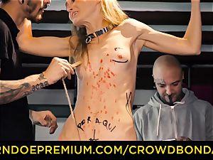 CROWD restrain bondage puny sub nympho fetish group fuck-a-thon