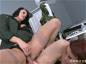 Alektra Blue and Monique Alexander put a soldier through his paces