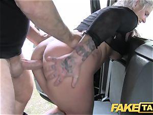 faux taxi blond cougar gets surprise ass-fuck fuckfest