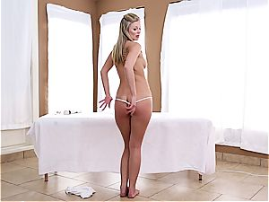 ash-blonde uses her fave playthings to pleases her cock-squeezing cunt