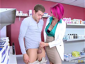 first-timer man screws wondrous big-titted nurse Anna Bell Peaks in the pharmacy