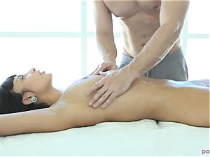 French pleasure Anissa Kate porked on massage table