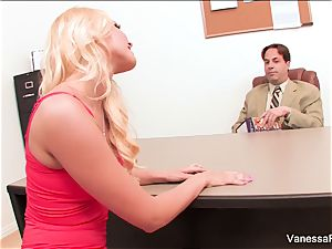 handsome ash-blonde Vanessa cage seduces the dean