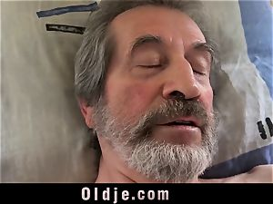 teen nurse woman Dee poke treatment for sick senior patient