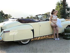 Lana Rhoades vintage car cunt play