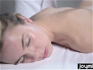Joymii super-fucking-hot blond gets decorated in jism after her massage
