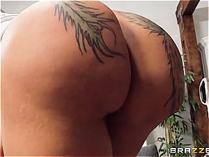 inked maid gets her chubby butt pounded on a money bunch