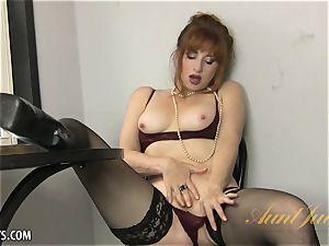 Amber Dawn joys herself wearing hip highs.