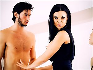 Jasmine Jae spanking super hot light-haired maid Tamara Graceass after cuckold on the husband