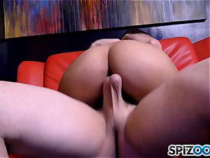 pillar dancing Sophia Leone gagging on a huge pillar man-meat