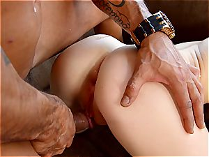 Babyfaced Kira enjoys phat pacifier in her cock-squeezing bum