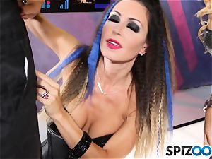 Jessica Jaymes and Cherie Deville are fortunate that this robot has a human stiffy to deep-throat