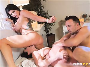 spunk craving vampiress Angela white sharing man-meat with Romi Rain