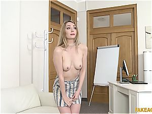 ash-blonde ultra-cutie owns the agent with her astounding bosoms and pinkish cunny