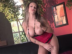 Jenna Presley takes it off leisurely to demonstrate off her ginormous knockers and smoking assets